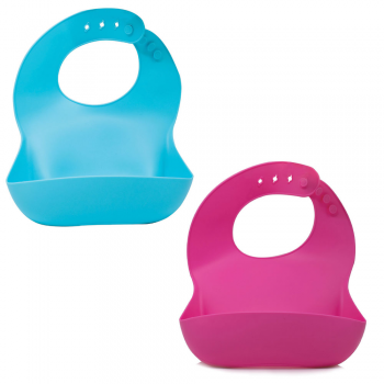 Callowesse Silicone Bibs 2 Pack - Pink and Blue
