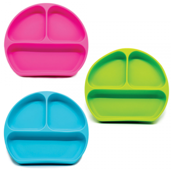 Callowesse Silicone Suction Plates 3 Pack - Green, Pink & Blue