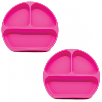 Callowesse Silicone Suction Plates 2 Pack - Pink