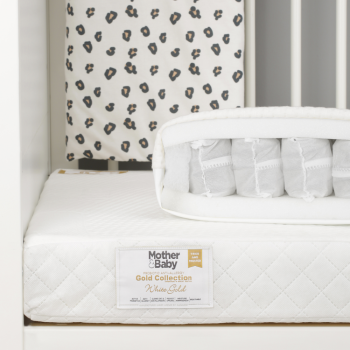 0 mother and baby white gold cot bed mattress