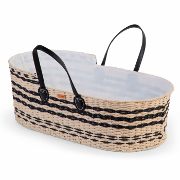 Childhome Moses Basket (Handle, Liner + Mattress) - Natural Anthracite - Angled View