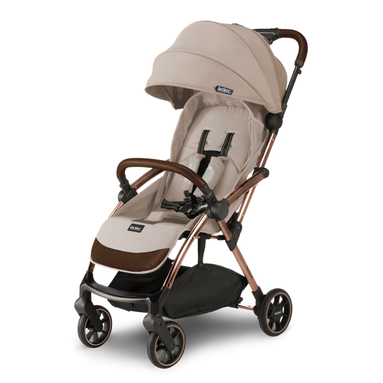 Laclerc Influencer Stroller - Sand Chocolate - angled View 2