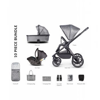 Venicci Tinum 2.0 3 in 1 Travel system with Ultralite Car Seat in Black- Magnetic Grey