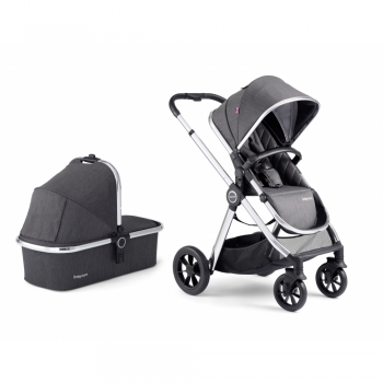 Babymore MeMore Pram & Pushchair 11 Piece - Chrome Slate - Seat and Carrycot