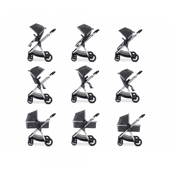Babymore MeMore Travel System 13 Piece - Chrome Slate - Positions