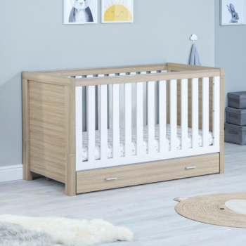 Luno Cot Bed with Drawer - White Oak