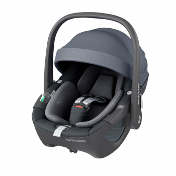 Maxi Cosi Pebble 360 i-Size Car Seat - Essential Graphite - Angled View Canopy