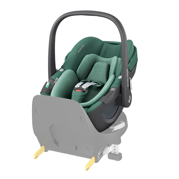 Maxi Cosi Pebble 360 i-Size Car Seat - Essential Green - Front Angled View Base