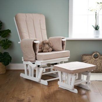 Obaby Deluxe Reclining Glider Chair And Stool Sand Fabric