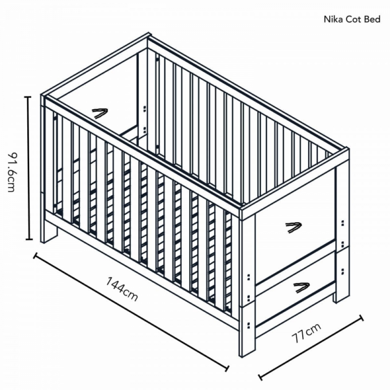 Obaby Nika 2 Piece Set - Grey Wash and White cotbed dimensions